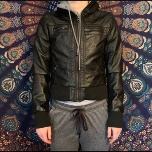 Black and Gray Pleather Cropped Hooded Jacket